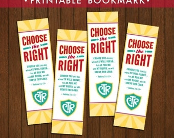 2017 LDS Primary Theme Bookmarks Printable (Instant Download) - Choose the Right