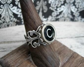 Typewriter Key Ring - Typewriter Key Jewelry - C Initial Ring - Antique Typewriter Key Adjustable Ring - Initial Ring