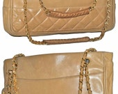 "CHANEL Paris 12"" Inch Beige Quilted Lambskin Leather Tote Handbag Gold Chain With Card Made In Italy Shoulder Bag"