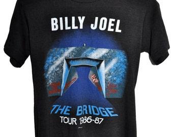 Vintage 80s 1986 1987 BILLY JOEL The Bridge Rock Concert Tour T SHIRT Thin Soft Small S