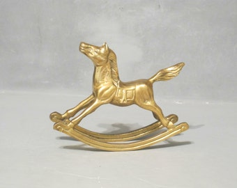 Vintage Brass Rocking Horse Figurine / Nursery Shelf Decor, Baby Room, Equestrian Pony Rocker Animal Sculpture, Desk Accessory Paperweight