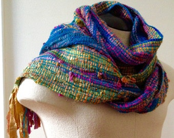 Handwoven Recycled Sari Silk Ribbon & Organic Cottolin Scarf // Blue / Pink / Gold / Multicolor / Rainbow / Lightweight / Sustainable