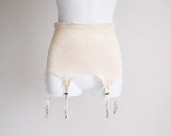 Cream Hip Control, Open Bottom Girdle, with Garters - Sz 23