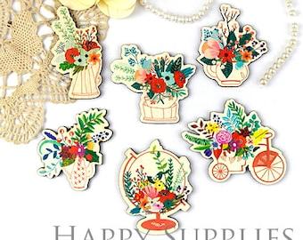4Pcs Mini Handmade Flowers Charms / Pendants (CW036)