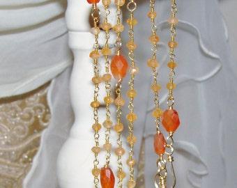 Carnilian gemstone Fall pumpkin rosary chain 5 wrap bracelet or necklace Sacred Jewelry Pamelia Designs