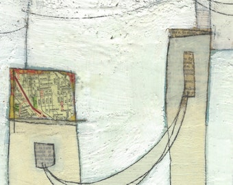 Original Mixed-Media Encaustic Painting by Janet Nechama Miller: the homes I've lived in - small art