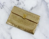 Whiting & Davis Gold Metal Mini Clutch Small Purse Wallet Gold Chain Made in USA
