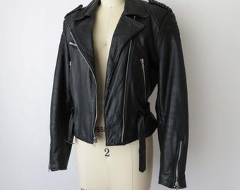 80s Berman's Leather Biker Motorcycle Jacket 1980s Cinched Waist Zippered Waist Belt Vintage Smalll Medium Padded Elbows and Shoulders