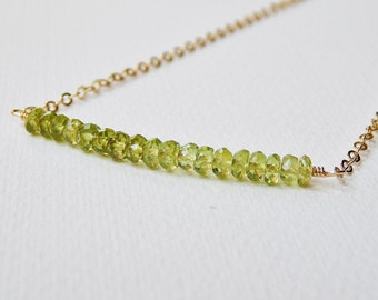 Peridot Bar Necklace - Gold Filled Beadwork Necklace Beaded Line of Faceted Stones