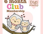 6 Month 2 Cute Ink Digital Stamp Club Membership - Digital Stamps for coloring, card making and paper crafts