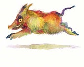 Day 13 -Daily Watercolor - Skippy the Boring Boar - One of 366 days of watercolor paintings and/or ink drawings