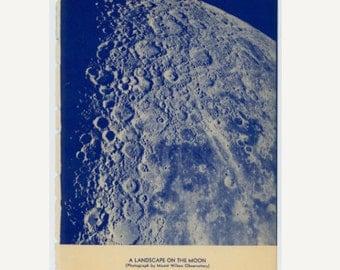 1934 MOON LANDSCAPE print original vintage celestial astronomy lithograph