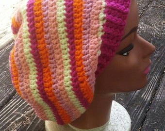 SALE multi color pink orange yellow hippie dreadlock tam slouch beanie hat
