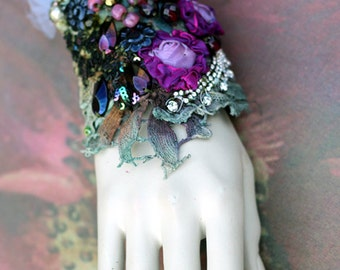 Iolanthe cuff, bold cuff with antique laces, bohemian wrist wrap,beading and crystals
