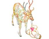 Baby and deer watercolor drawing