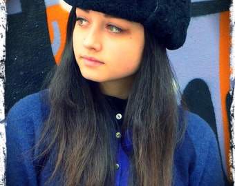 Trapper Hat Blue Upcycled Wool with Black Sheepskin Ear Flaps           HandMade in England UK