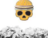 PRE-ORDER - Burger Skull Enamel Pin, Enamel Skull Pin, Enamel Burger Pin, Cloisonne Pin, Lapel Pin