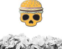 Burger Skull Enamel Pin, Enamel Skull Pin, Enamel Burger Pin, Cloisonne Pin, Lapel Pin