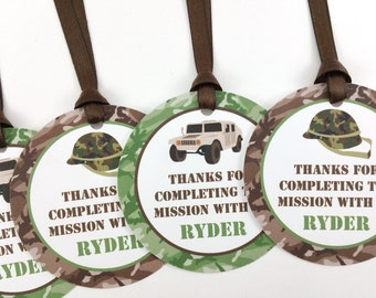 Army Party Favor Tags, Army Birthday Favor Tags, Camo Party Tags, Army Party Decorations, Camo Party Decorations - SET OF 12