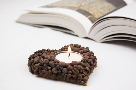 Valentines Day Gift - Heart Shape Tealight Holder - Table Centerpiece - Wedding Table Decoration -  Fragrant Heart coffee beans