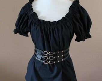 Basic Black Cotton Ladies Renaissance Costume Dress Chemise Medieval Peasant Shirt