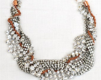 Chunky Rhinestone Wedding Necklace, Wedding Jewelry, Bridal Necklace, Bridal Rhinestone Jewelry, Bridal Copper Crystal Necklace