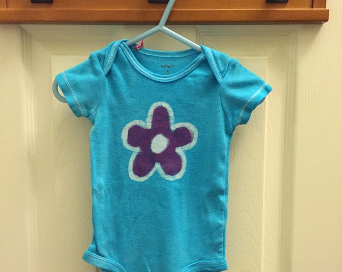 Featured listing image: Flower Baby Bodysuit, Turquoise Baby Bodysuit, Light Blue Baby Bodysuit, Baby Girl Gift, Baby Shower Gift (6 months)