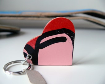 skateboard, recycled skateboard key chain, heart shape skateboard keychain in red and pink
