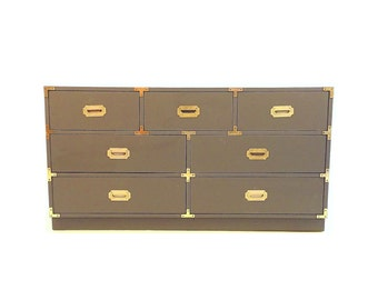 Vintage Campaign Dresser In Seal Gray