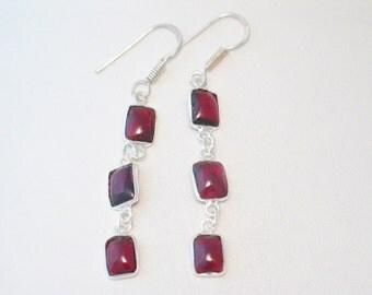 cranberry red garnet cabochon gem Sterling silver hand made bezel set dangle chandelier line stick french hook post earrings