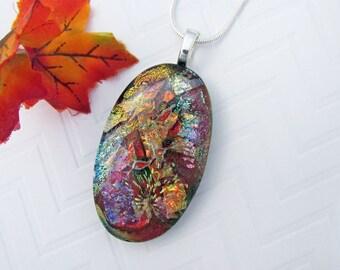 Vibrant Fused Dichroic Glass Pendant - Dichroic Glass Jewelry - Oval Dichroic Jewelry For Her - 24-16
