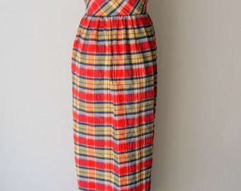 VIntage 1980s PLaid HAlter Top MAxi Sun Dress S/M