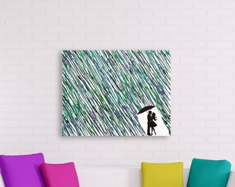 Unique Wedding Gift Art, Anniversary Gift For Wife, Melted Crayon Art, Boy and Girl Silhouette Art, Umbrella Painting, Rain Painting 16x20