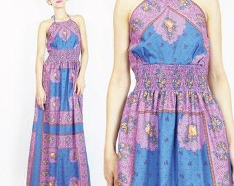1970s Boho Halter Maxi Dress Rose Calico Floral Print Dress Festival Cotton Lanz Original Purple Blue Elastic Waist Dress (S/M) E550