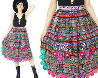 Vintage Embroidered Apron Ethnic Hand Woven Striped Multi Color Guatemalan Folk Vintage Half Apron Skirt Cooking Kitchen Floral Swans