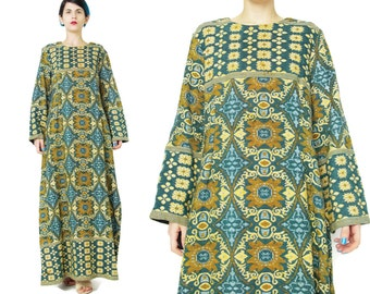 1960s Tapestry Dress Folk Boho Hippie Maxi Dress Brocade Floral Tapestry Dress 70s Long Bell Sleeve Dress Festival Indian Cotton Dress (M/L)