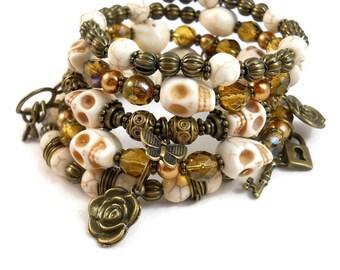 Skull Bracelet Stack Bronze Jewelry Charm Bracelet Cuff  with Skeleton Keys Locks and Roses Gift Ideas for Teenage Girls Skull Jewelry