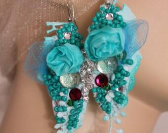 Unique Art to wear Turquoise baroque inspired textile earrings, lightweight earrings, gypsy , Marie Antoinette , flower earrings, dance