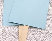 20 ct. Pre-Assembled Powder Blue Blank DIY Wedding Program Cardstock Fans with Wooden Handles - 5-1/2 x 9""