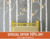 White Tree Wall Decal Huge Tree wall decal Wall Mural Stickers Nursery Tree Birch Tree with Owls Wall Nature Wall Decals Decor - W1112