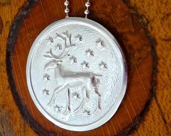 RESERVED for Gabriel Sterling Silver Reindeer Pendant