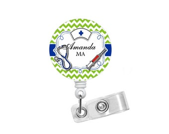 Personalized Chevron Medical Name Badge Holder Blue and Green - Badge Reels - Pediatric Badge - Medical Assistant - RN - Gift for her