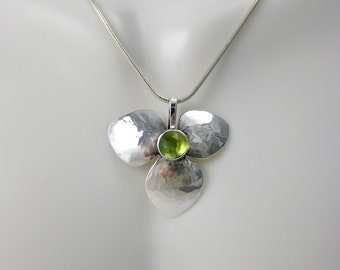 Sterling Silver Peridot Pendant - Rose Cut Peridot Necklace - Floral Pendant - August Birthstone - Metalsmith Jewelry - Hydrangea Pendant