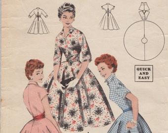 Butterick 7346 Vintage 50s Sewing Pattern Dress Size 14 Bust 32