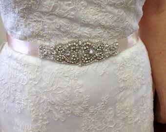 Grace Wedding Dress Bridal Crystal Beaded Applique Sash Belt Embellishment Applique