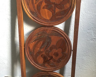 Antique Pie Stand, Carved Foldable Wooden Pie Stand, Wooden Bakers Stand 3 Tier