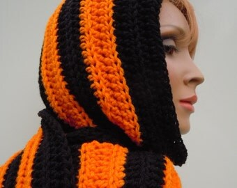 Sports team Inspired Hooded Scarf, Black and Orange Hooded Scarf,  Pixie Hood, Sports Colors Scarf