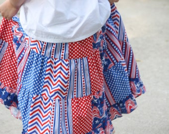 Little Girls Handmade Red, White, and Blue 4th of July Patchwork Ruffle Twirl Skirt Size 5/6