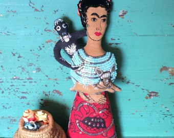Frida Kahlo Art - Frida Kahlo Art Doll - Frida Doll - Frida Kahlo Doll - Folk Art - Inspired by Mexican Folk Art - Beaded Doll