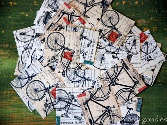 """Vintage Bicycles stickers, 1.5"""" or 2"""", bicycle ephemera stickers, bicycle stickers, bike stickers, vintage bicycle envelope seals, Recycled"""